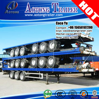 3-axle high quality container vehicles flatbed truck trailer with 28t Landing leg for sale