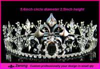 Fashion large pageant crystal full round crown