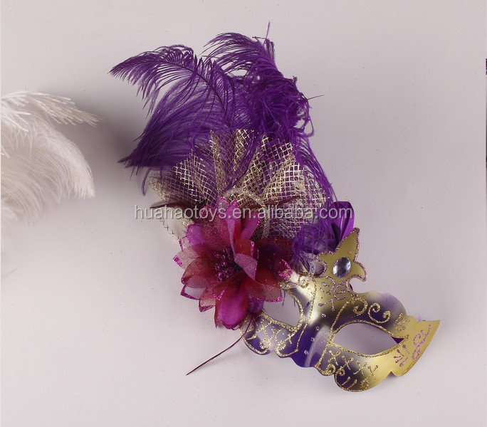 Handicraft Fancy Decorative Party Mask With Feather For Ball