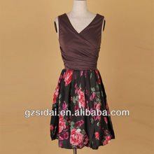 2012 Sexy girls flower printed latest dress designs TLR444