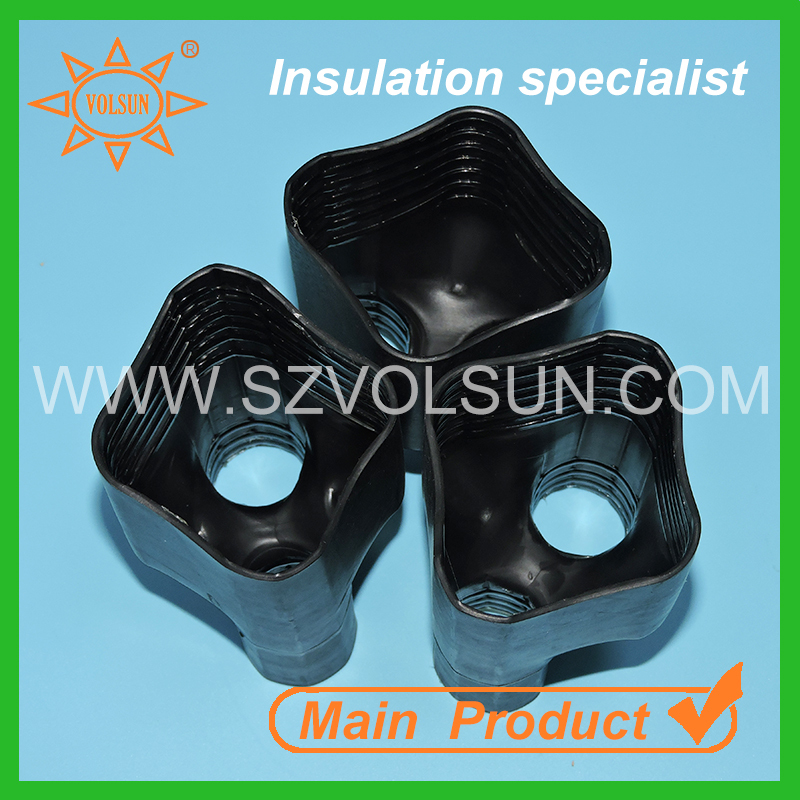 Low voltage protective molded heat shrinkable breakout