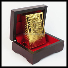 Gold EURO playing cards100 design with small wooden box