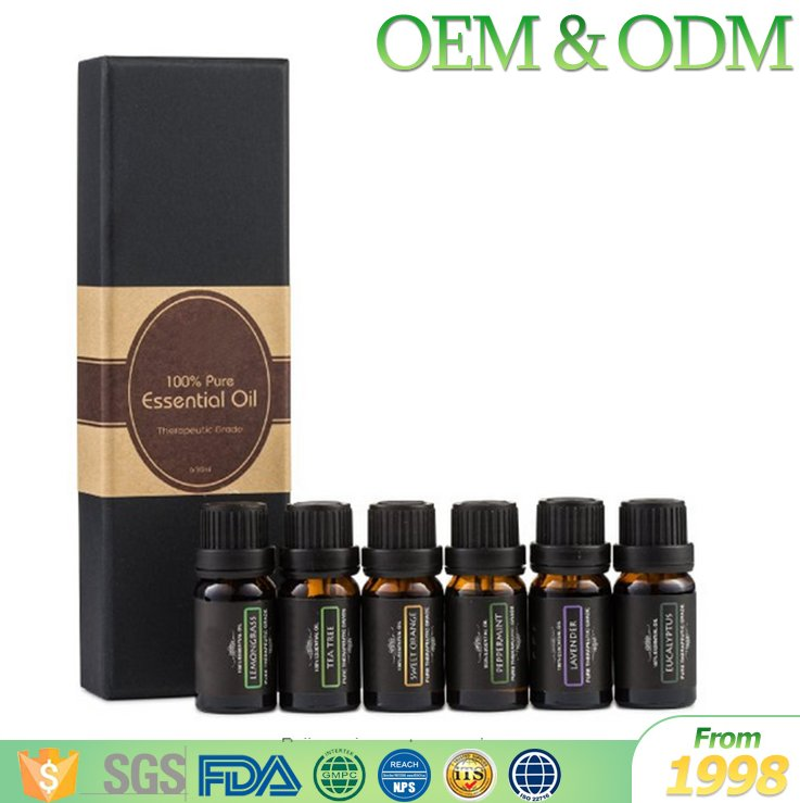 6pcs/set GMPC certification nauture essential oil gift set 100% pure essential oil