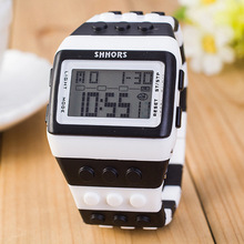 SHHORS creative fashion rainbow building blocks band multifunctional student sports electronic watch waterproof spot wholesale