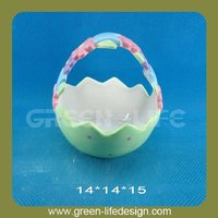 Hot sale Egg design decorative ceramic fruit basket