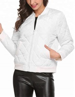 Women's Lightweight Quilted White Bomber Jacket