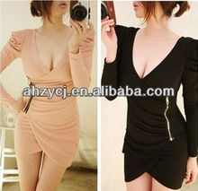 Latest ladies clothes long sleeve Korea woman spring/autumn mature sexy dresses