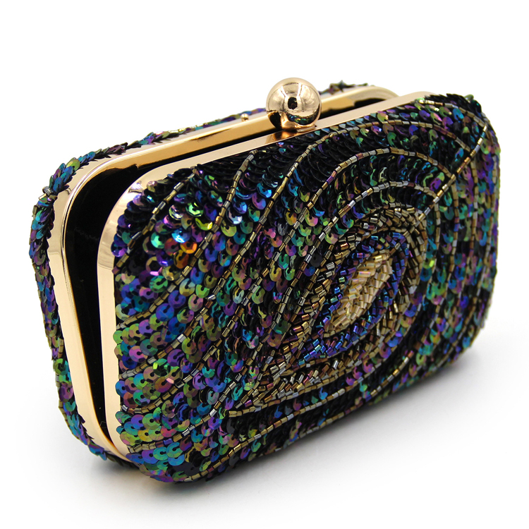 fashion sequin evening clutch bag peacock pattern hand bag