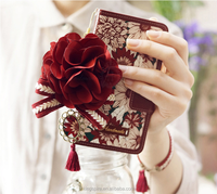 Lady Purse Floral Pattern Leather Pattern Flip Wallet Credit Card Holder Cover Case For Samsung Galaxy S6 Edge