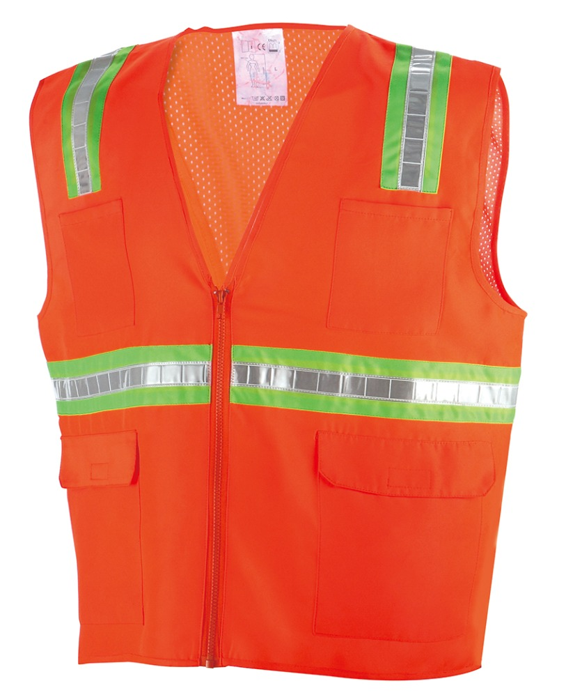 Reflective workwear Safety vest orange with many pocket