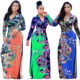 Clothes factory wholesale new floral designs print african maxi dresses for women