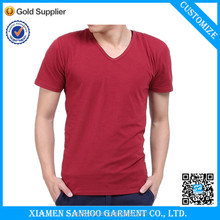 Low Price Cotton Bulk V-Neck T Shirt Men Blank Tshirt Softness Cheap From China Manufacturer OEM Service