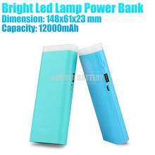 12000mAh High Capacity Portable Power Bank with Bright Led Flashlight for Gionee Mobile Phone Made in China