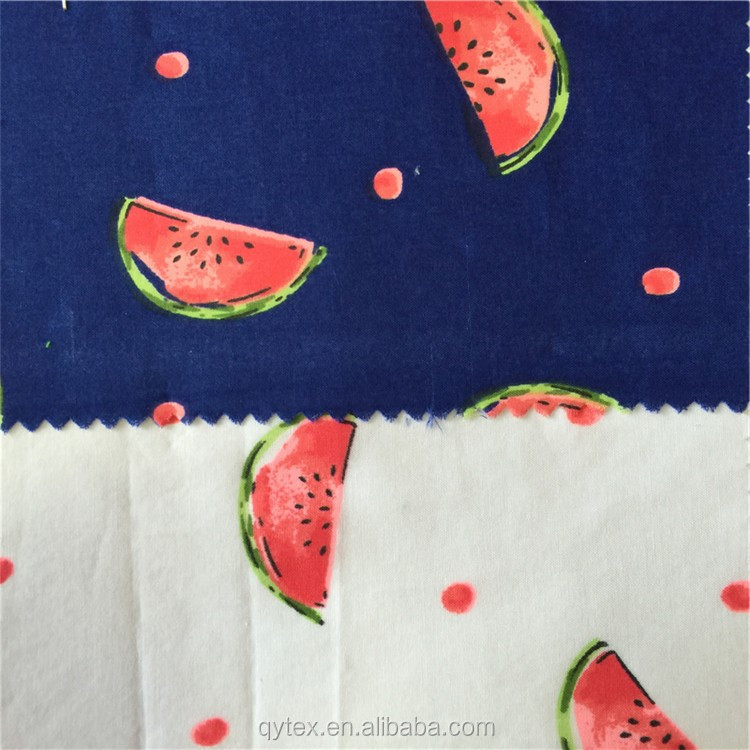 Custom Fruit Watermelon Print Poplin 100% Cotton Fabric Wholesale for Children's Dress