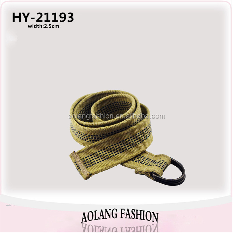 YiWu Stripe Belt Polyester Webbing Canvas Men Belts with Double D Rring
