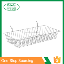 600x300x100mm pegboard & gridwall Chrome wall mounted wire baskets