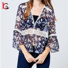 new arrival OEM ODM princess cutting v neck sweet lace woman top half sleeve open hot sexy girl photo lady chiffon blouse