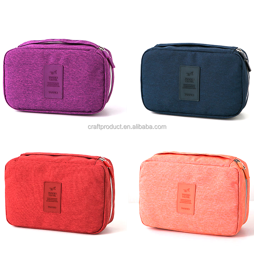 Multi Functional Plastic Cosmetic Bag Colorful Toiletry Case Polyester Make Up Travel Bag