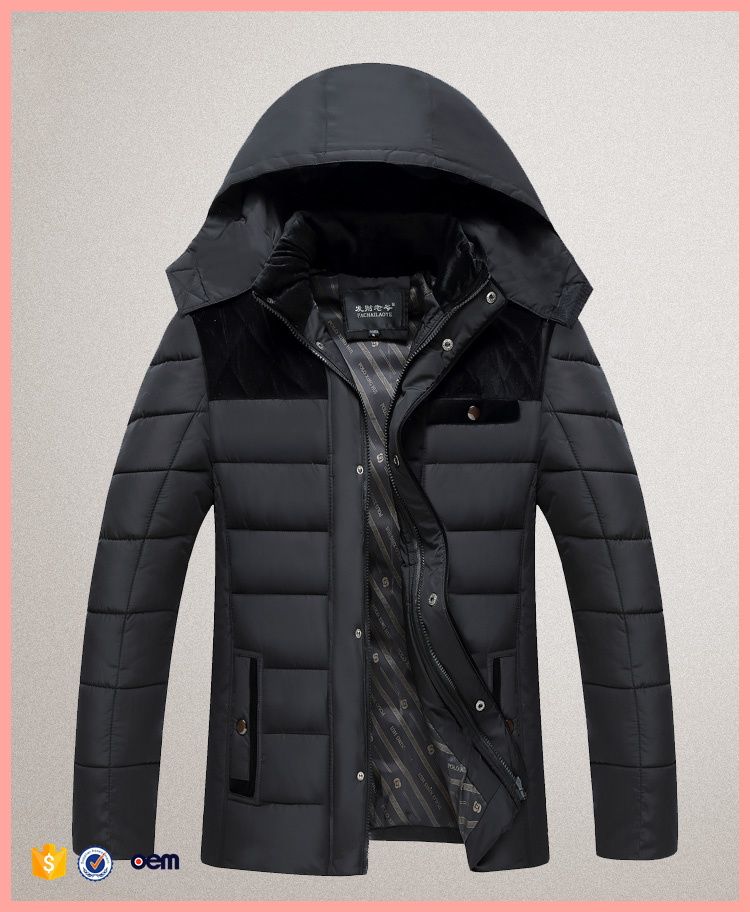 2016 Winter new men's middle-aged hooded thick cotton jacket