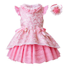 Pettigirl Little <strong>Girl's</strong> <strong>Dresses</strong> Rose Pink Jacquard Girl <strong>Dress</strong> With Headwear Baby Girl <strong>Dresses</strong>