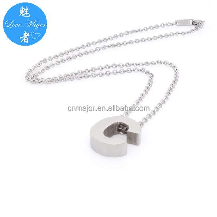 Engravable Capital Letter C Stainless Steel Pendant of Jewelry Necklace Design for Women