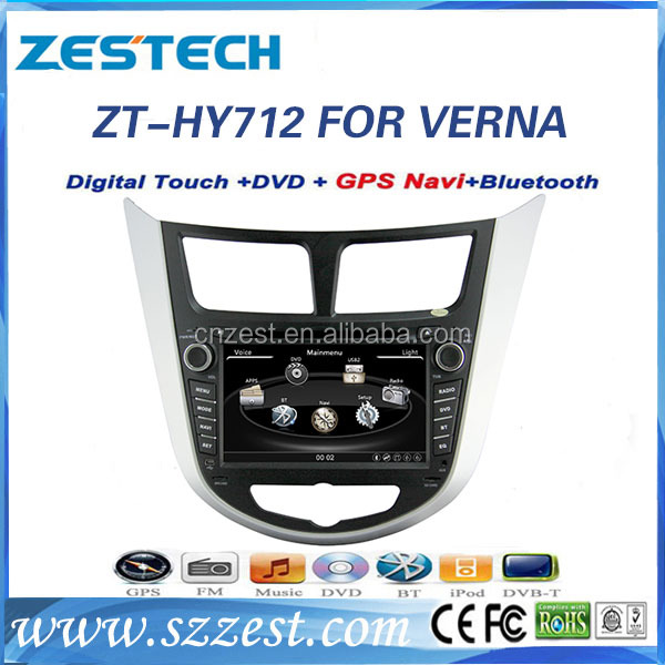 ZESTECH car portable dvd player FOR HYUNDAI VERNA ACCENT support 3G BT audio DVB-T MP3 MP4 HDMI USB GPS DVD function