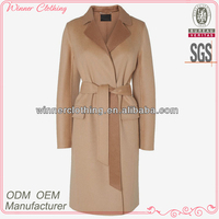 Ladies' long sleeves fashion office lady polyester wool coat manufacturer winter coat japan style
