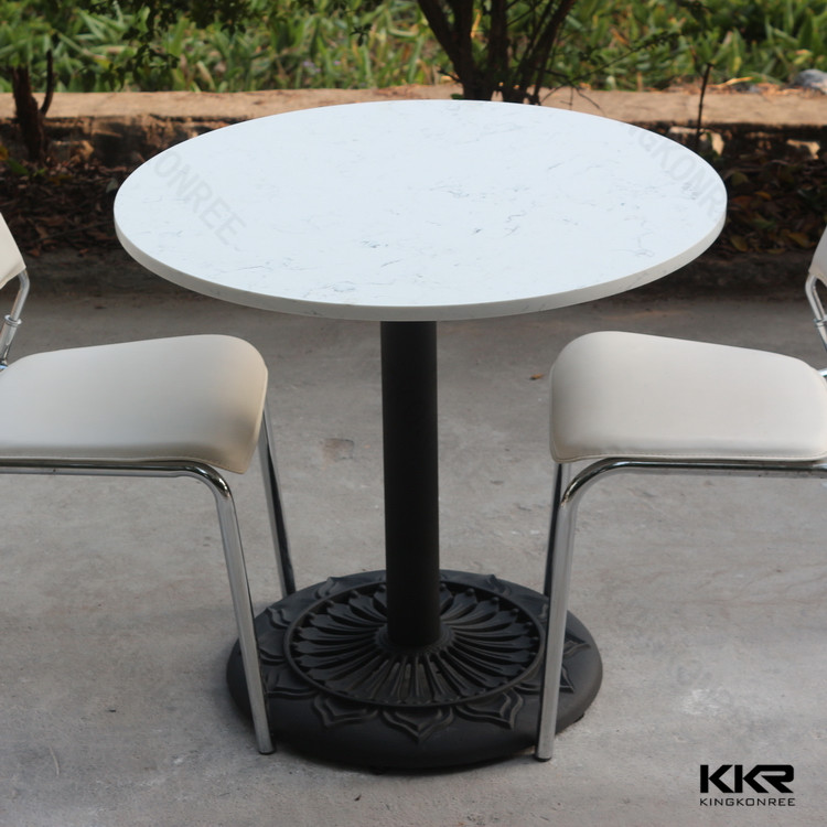 white marble round acrylic solid surface table top