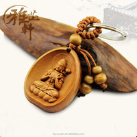 Yazhixuan Hot Selling Pendant and Charm Type Wooden Buddha Figurine Key Chain