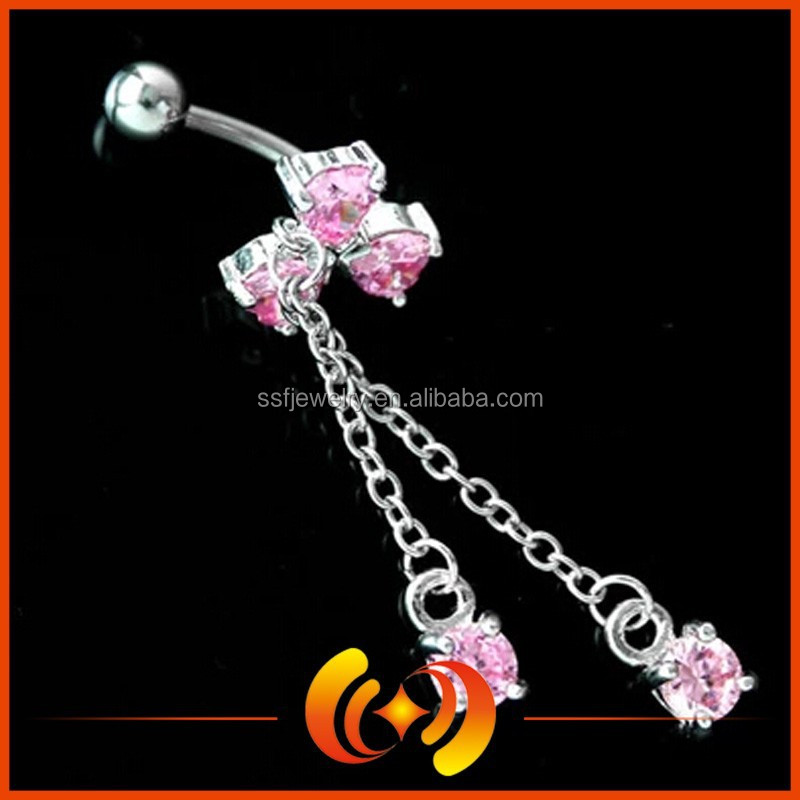 Cheap Cubic Zircon 316L Surgical Steel Chain Navel Belly Ring