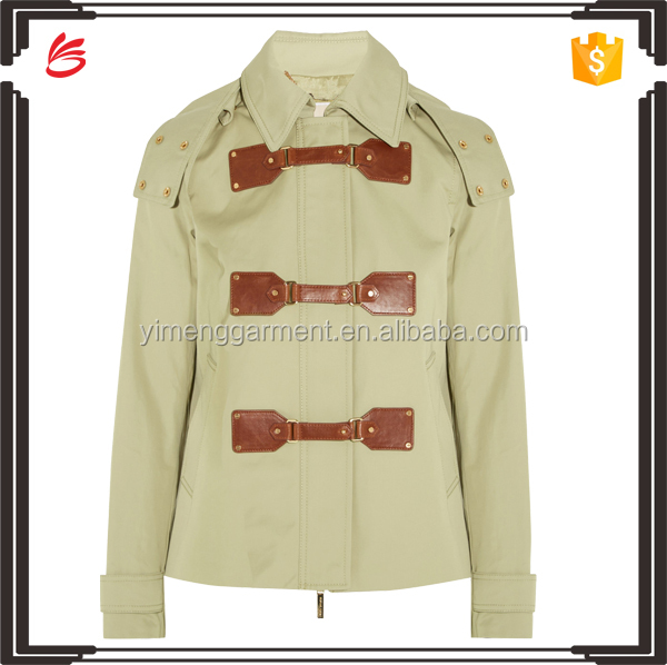 Brand design women winter jacket with leather patch wholesale