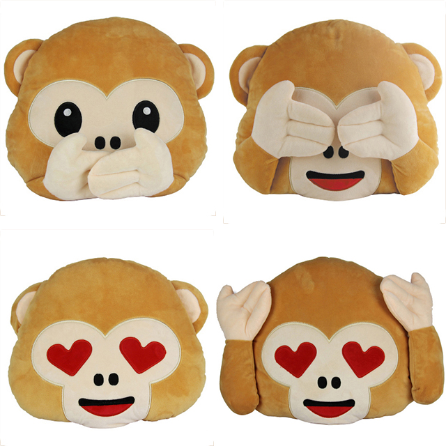 "2016 Popular Emoji Cushion 12.6""/13.8"" Stuffed Funny Emoji <strong>Monkey</strong> Plush Pillow"
