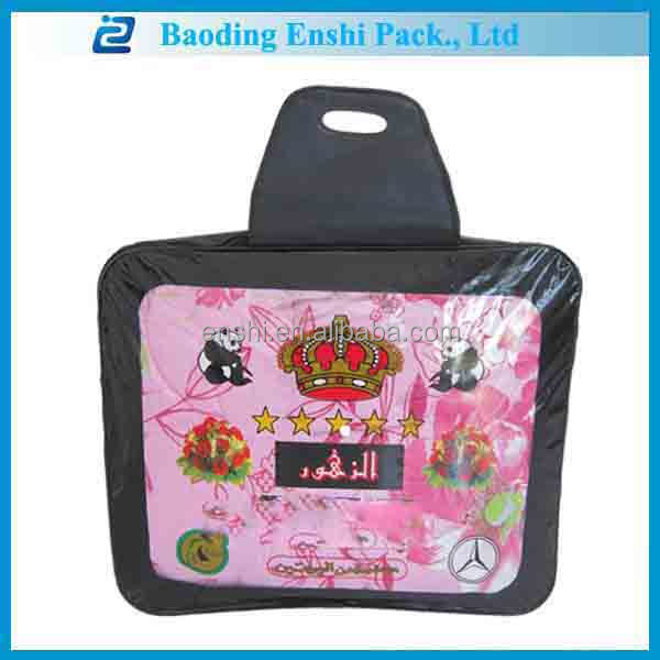 pvc plastic travel blanket zipper bag with trapezoid handle