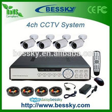 Bessky Hot Sale Cmos 800TVL/1000TVL 4ch cctv security camera dvr system 8ch security complete kit