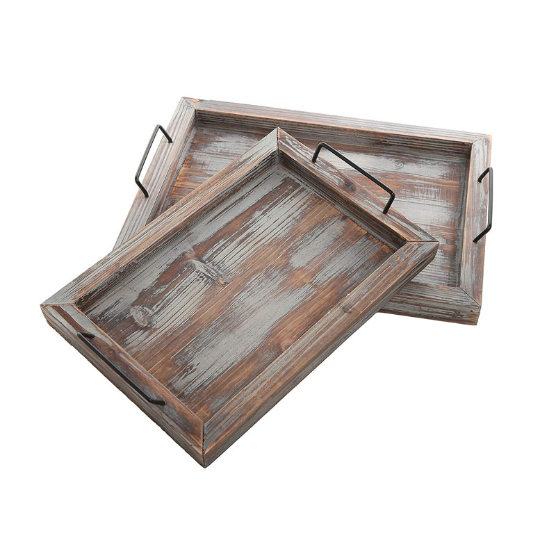 2019 Hot sales Geometric Rustic  Hexagon Design Wood Serving Nesting Tray