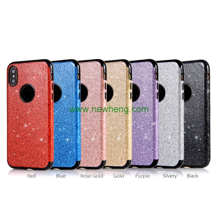 Bling Glitter Paste Skin Protective Shockproof Soft Silicone Cover for iPhone X