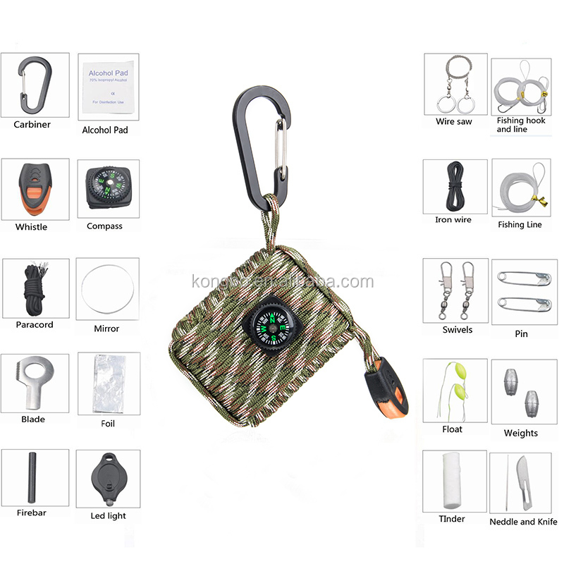 KongBo 2016 new wholesale 550 fishing Tools paracord emergency survival gear for outdoor