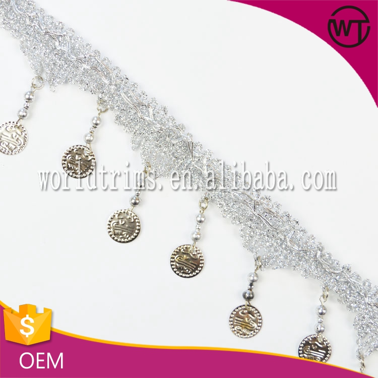 Wholesale new arrival coins metallic silver fringe trimming for curtain