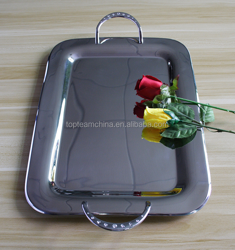 Wholesale stainless steel rectangle kitchen serving tray- food cpu tray unique shape dinner plate with diamond handle