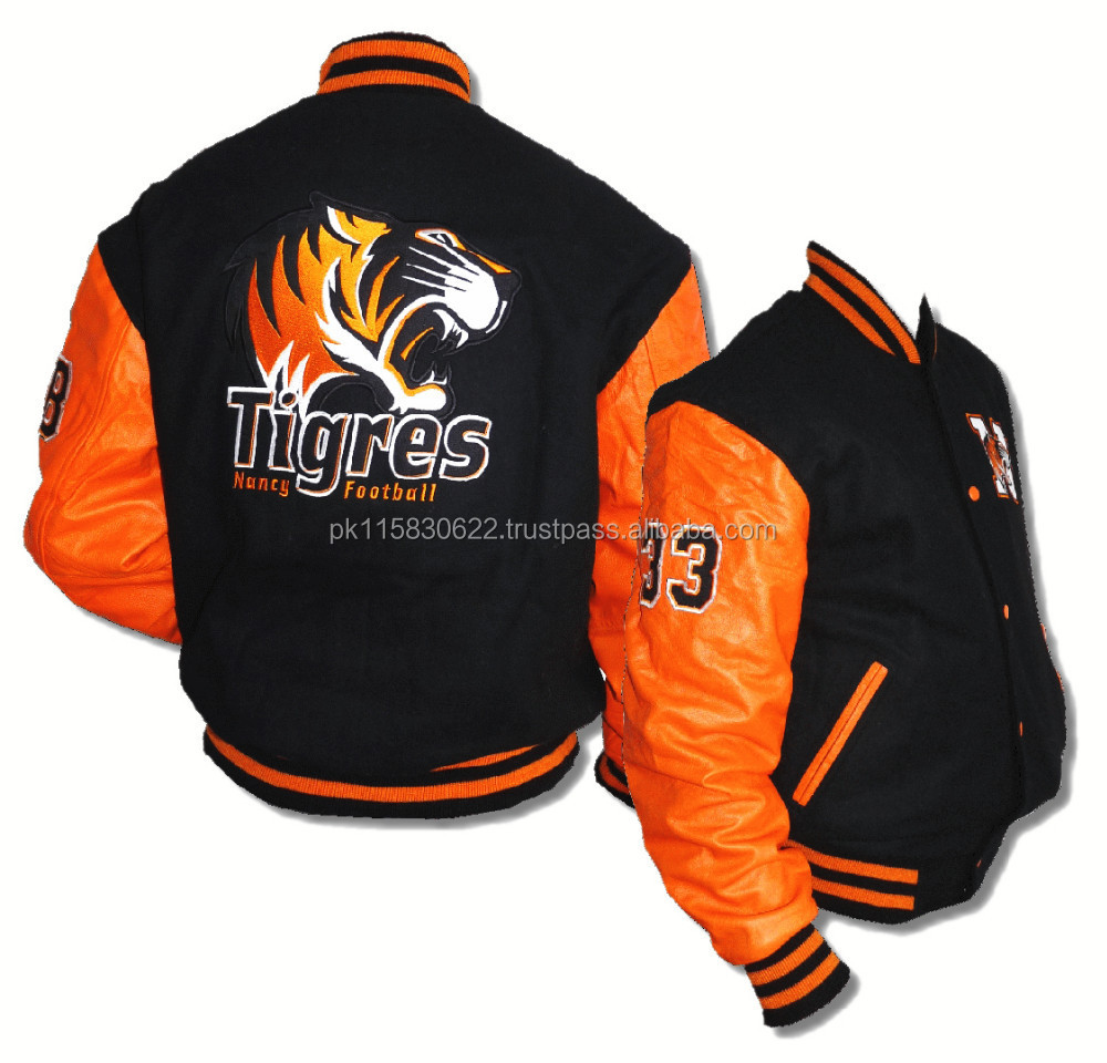 orange leather sleeves letterman jacket