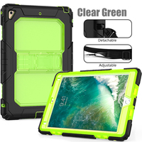 Factory Price Kickstand Clear PC Soft Silicone Cover For iPad Air 2 Case With Strap