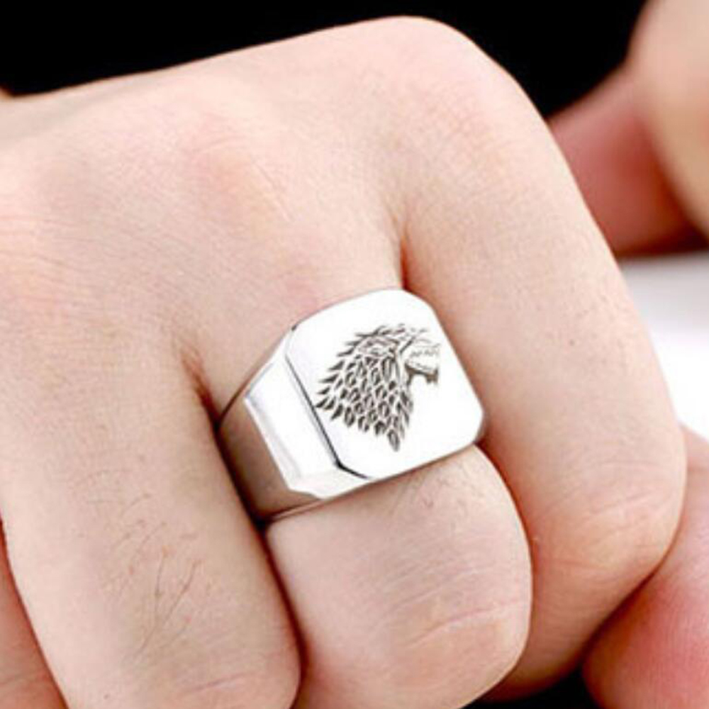 Stainless Steel Wolf Head Ring For Men Cool Punk Man\'s Fashion ...