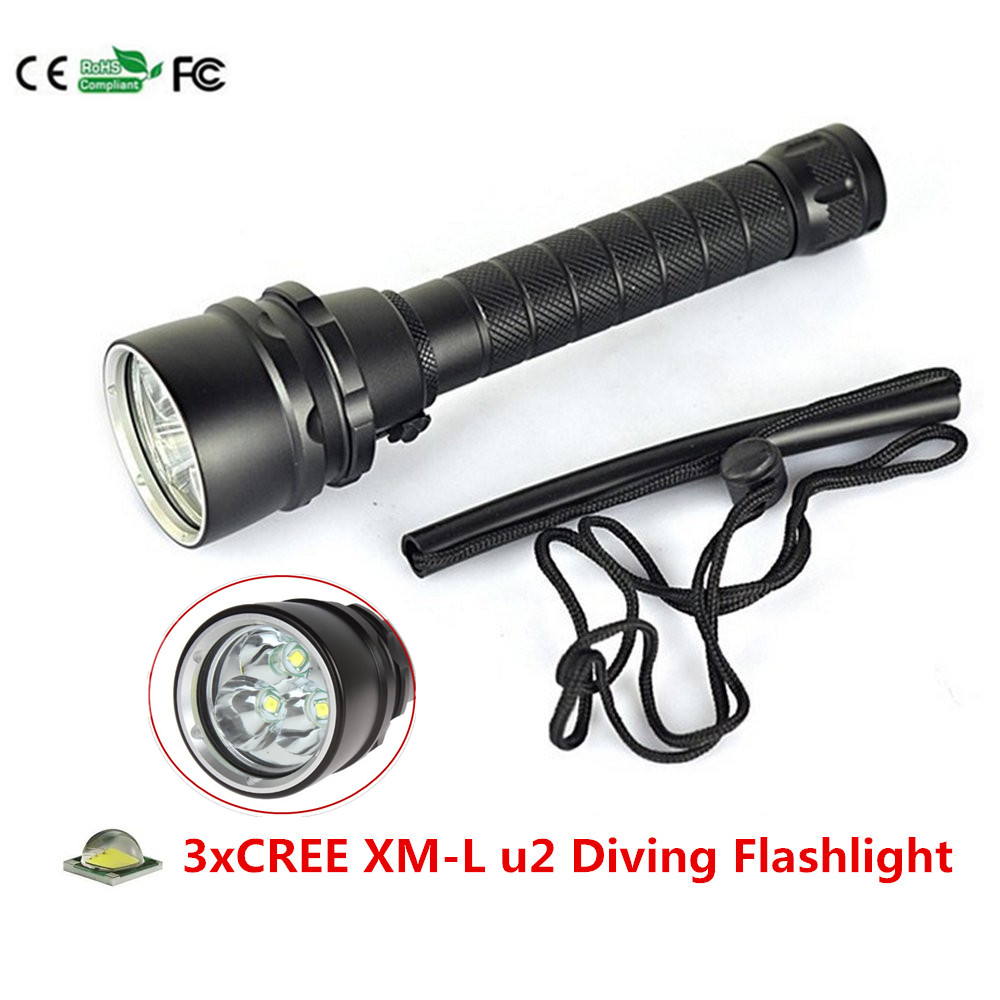 3000 Lumen 3X XM-L u2 LED Diving Flashlight Torch 100M Underwater Waterproof LED Flash Light for 18650 battery