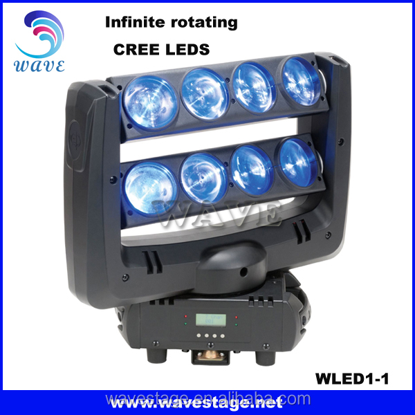 WLED 1-1 Infinite rotating spider light 8pcs 4 in 1 quad 10w rgbw led wash beam moving head bar light