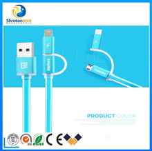 2015 Hot sell 2 in 1 usb cable PVC Copper Core 2.1A usb charger cable for Apple/Micro