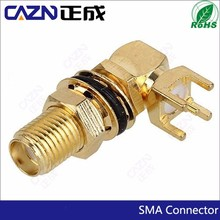 RF waterproof connector SMA right angle female pcb mount Connector
