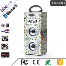 Karaoke Micphone Falante De Madeira do bluetooth ao ar livre portátil bluetooth speaker KBQ-603