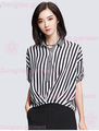 2017 new summer stripe chiffon girls top for short sleeved shirt waist tie all-matchladies shirts