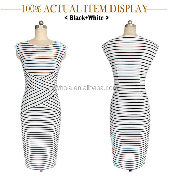 2016 Spring Summer Europe America New Fashion Stripe Round Collar Neck Tight Straight Dress For Office Latest Office Dress