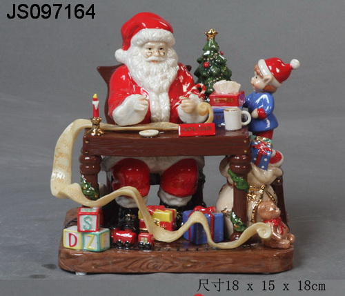 Polyresin Santa claus, boy and Christmas gift decor, 2016 New Christmas decoration